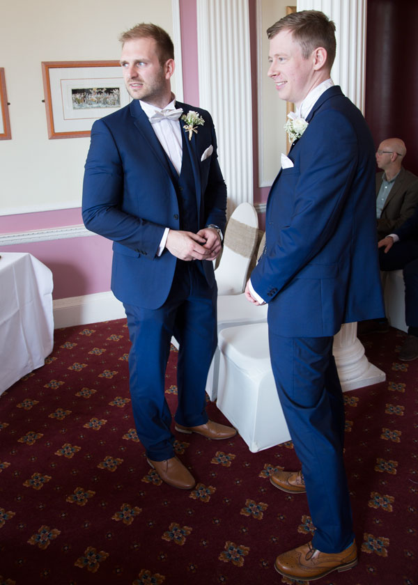 groom and best man in the ceremony room the stables high melton doncaster