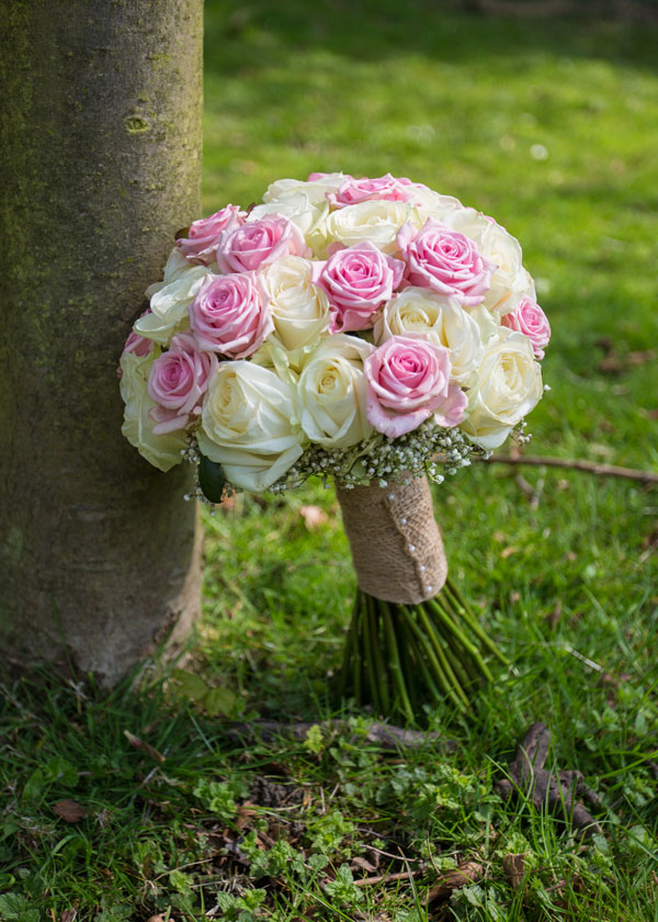 pink and white roses wrapped in hessian the stables high melton doncaster