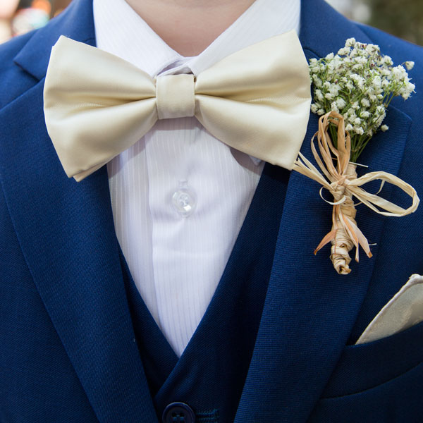cream bow ties with gypsophillia and hessian corsage