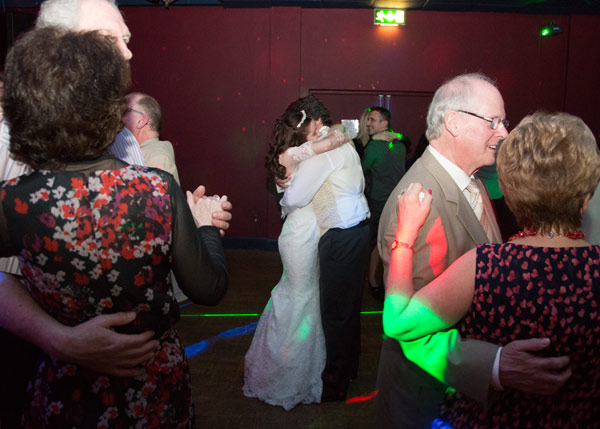 guests dancing with bride and groom in centre scarletts bar holiday inn barnsley
