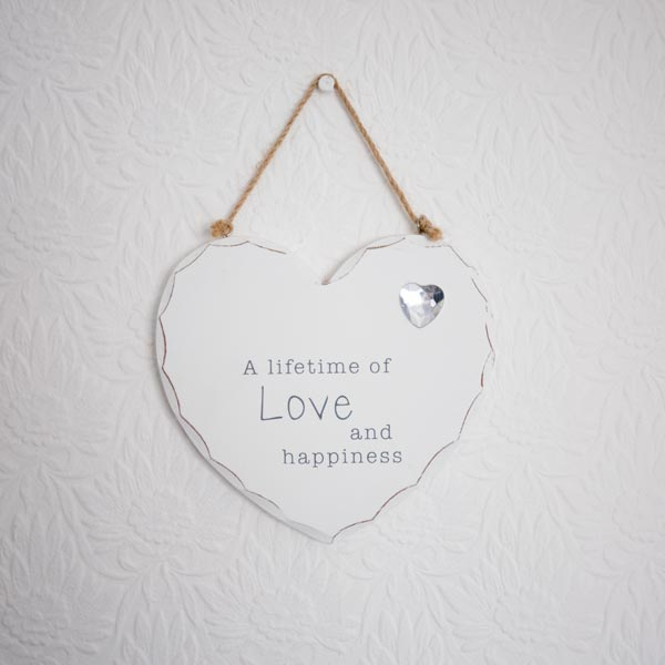 lifetime of love and happiness heart shaped plaque
