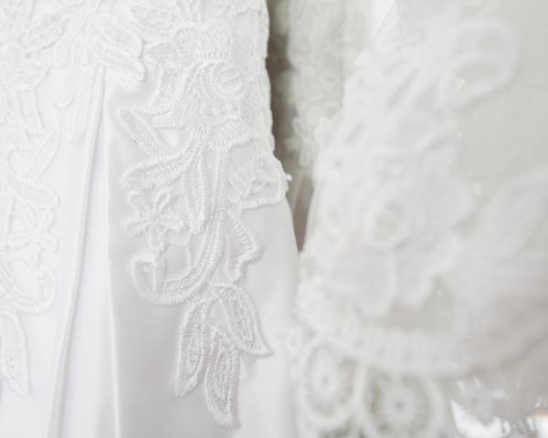 wedding dress lace detail on side and sleeve