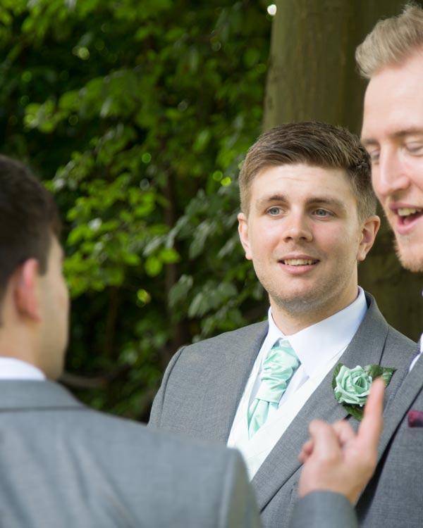 groom in mint green cravat christ church ardsley barnsley