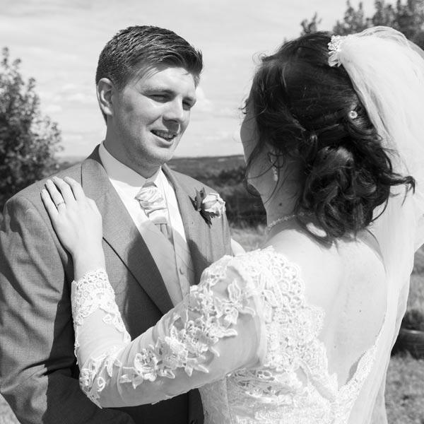 black and white newlyweds carers garden metrodome barnsley