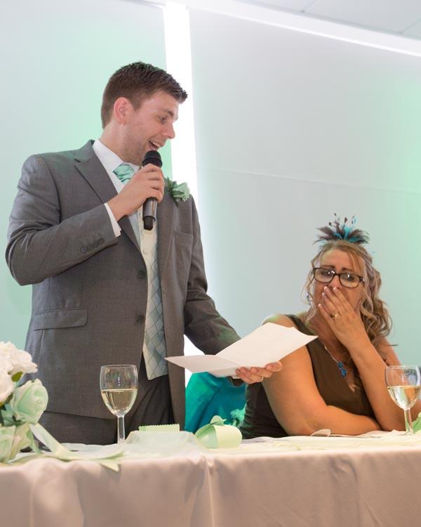 groom giving speech with mum tearing up rigby suite wedding barnsley premier leisure