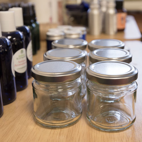 bottles and jars for aromatherapy product makin gworkshop