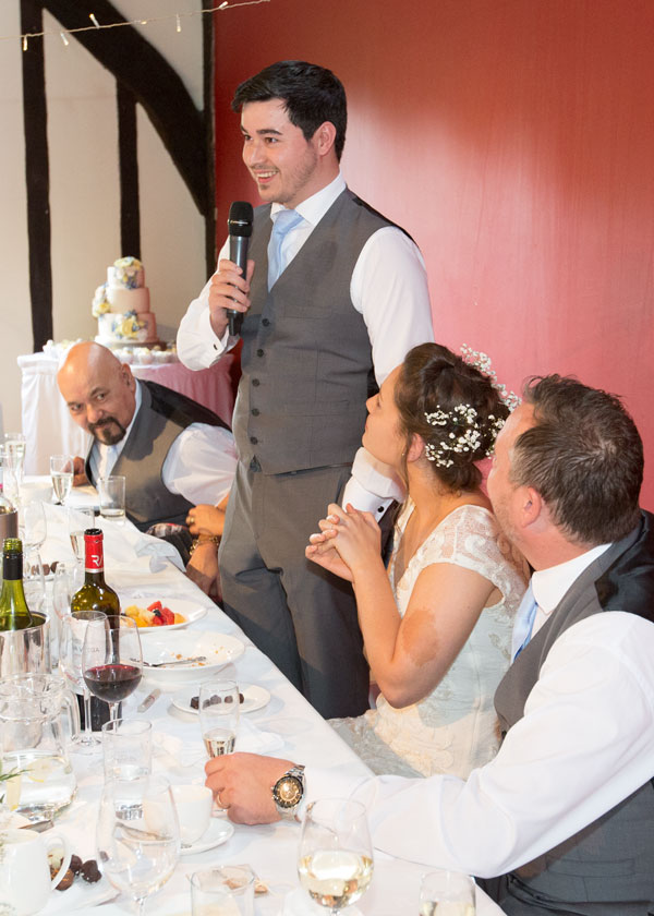 Grooms speech at top table york hospitium