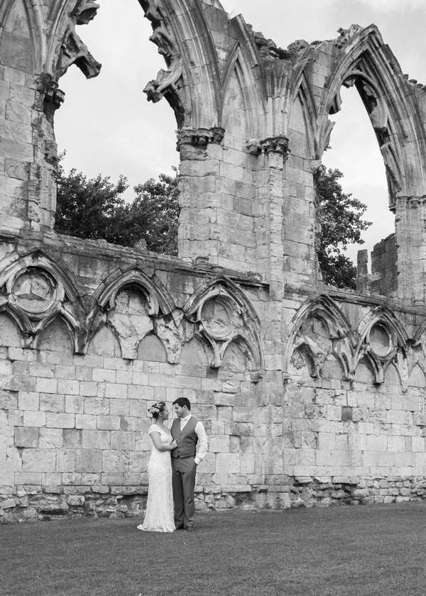 black and white couple in york museum grounds wedding