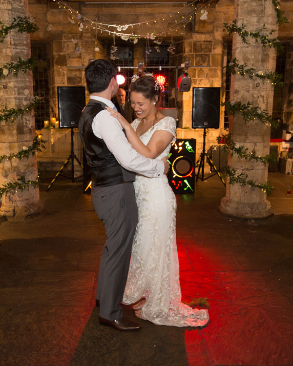 couple laughing during first dance york hospitium