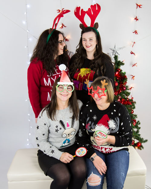 four laides tacky christmas jumper shoot 2017 barnsley