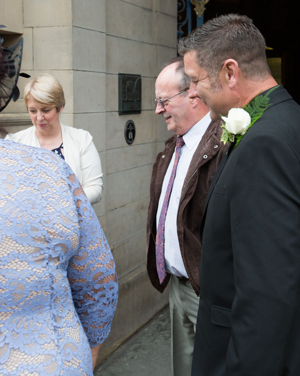 Groom outside sheffield town hall