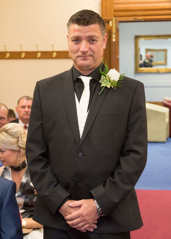Groom waiting for brides entrance sheffield town hall wedding photography south yorkshire