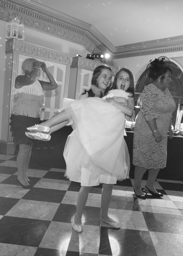 bridesmaids dancing black and white barnsley photographer