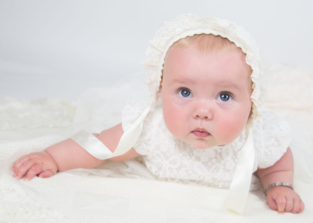 baby girl in christening outfit photography in barnsley