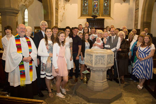 group family photograph in st thomas church worsbrough barnsley christening photographer
