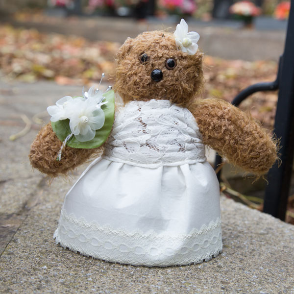 Wedding present for bridesmaids teddy bear dressed the same as flowergirl