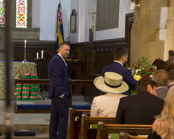 Groom waiting inside church for barnsley photographer