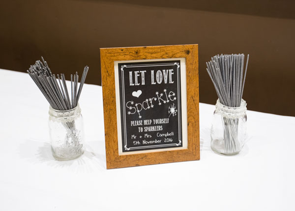 let love sparkle bonfire night wedding sparkler display