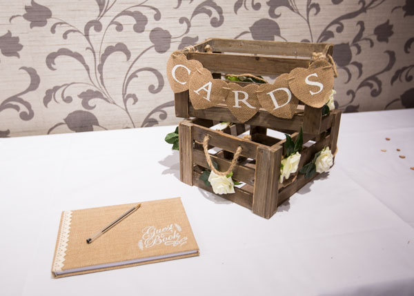 card box and guest book on table with white table cloth holiday inn barnsley photographer