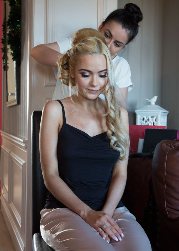 Bridesmaid with hairdresser barnsley photographer