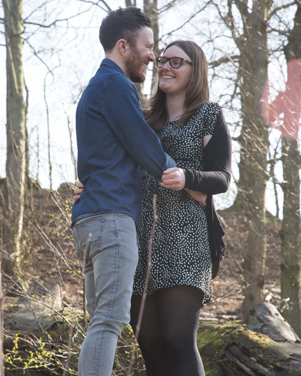 A couple on a pre-wedding shoot at Newmillerdam country park Barnsley
