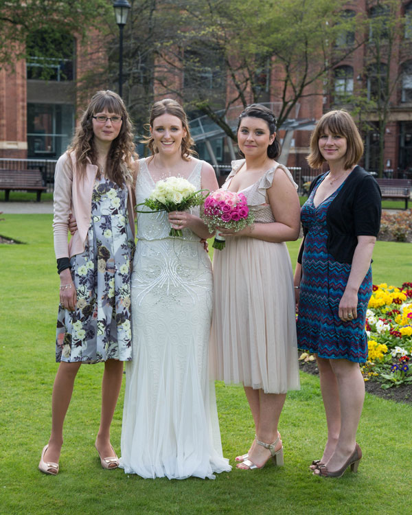 Bride with her friends in Park Square Leeds