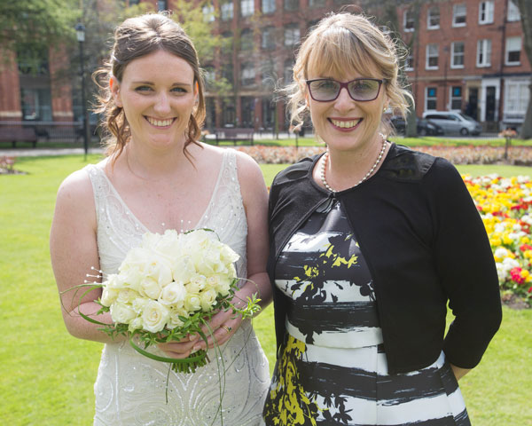 Bride and Mother of the bride in Park Square Leeds
