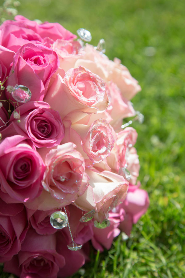 Close up of pink bouquet with glitter on the petals