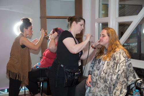 Make up artists working behind the scenes at Marie Blanche bridal catwalk show