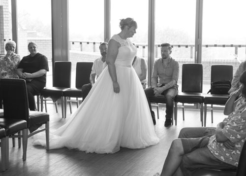 Side view of model on the catwalk at Rogby Suite Barnlsey