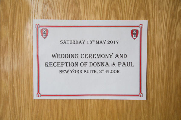 Sign for Donna and Pauls wedding at Aesseal stadium Rotherham
