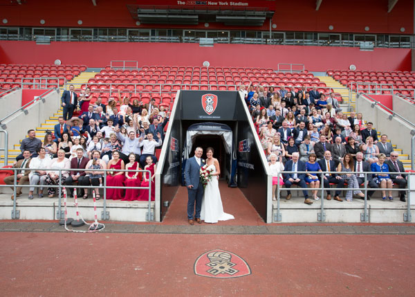 Group photograph in the stands at New York Stadium Rotherham