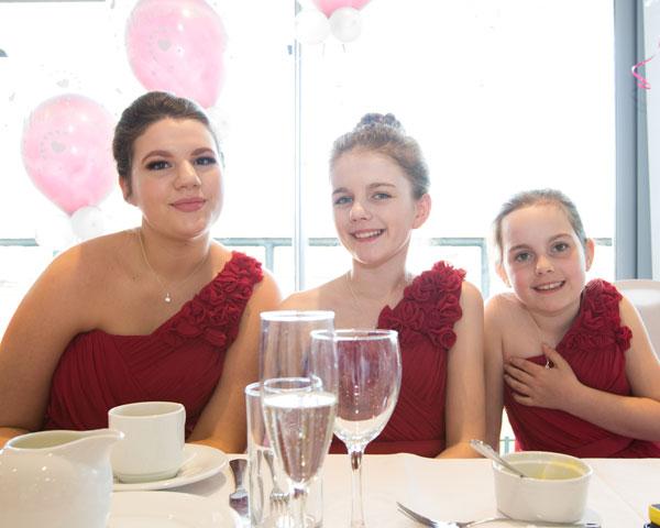 Bridesmaids sitting at top table