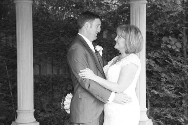 Bride and Groom in secret garden of Holiday Inn Barnsley