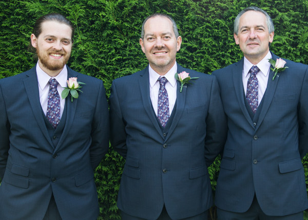 The groom with his best man and son at the three acres in huddersfield