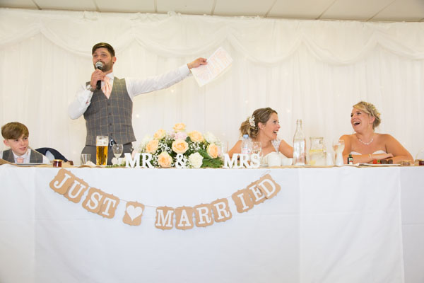 Groom giving his speech at Shaw Lane Sports Club