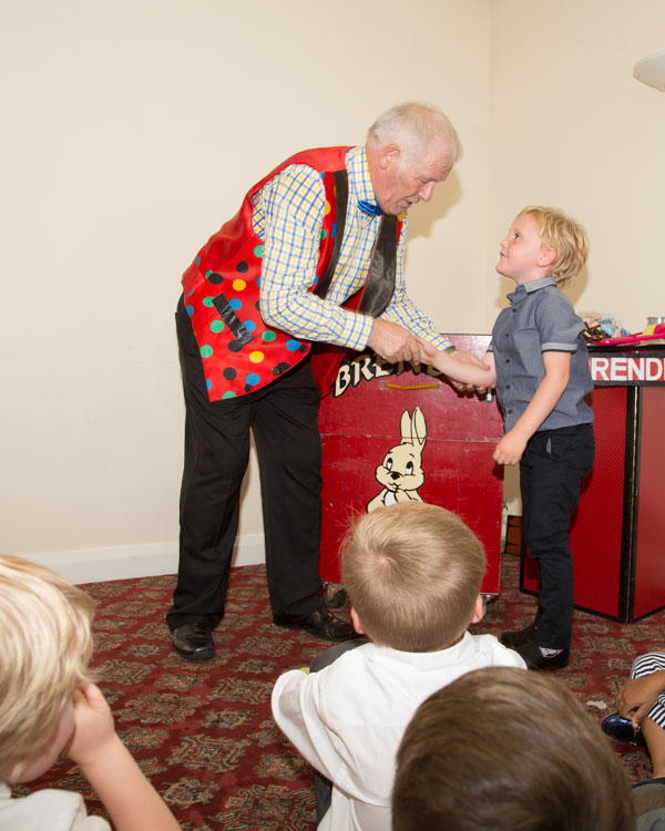 Brendini the magician during his act