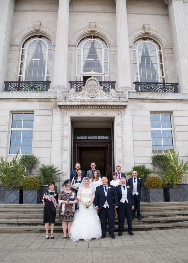 WEdding party outside Barnsley Town Hall after the wedding ceremony