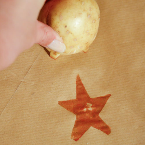 Potato Stamped Wrapping Paper