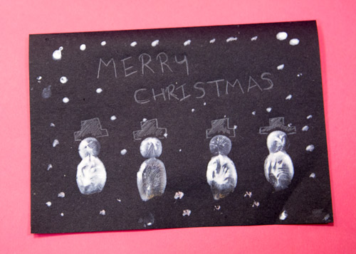 Fingerprint snowman Christmas card home made