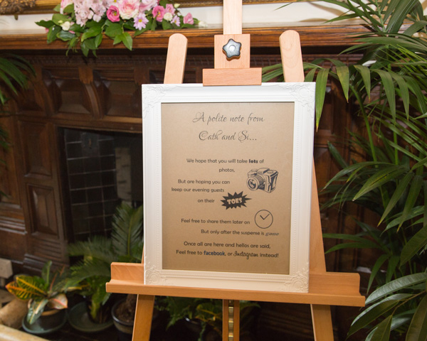 Creative way to ask guests not to post photographs on social media sign