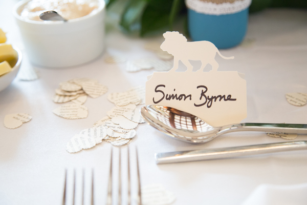 Lion shaped place cards at Chester Zoo wedding