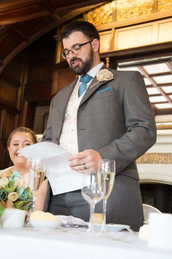 Groom giving his speech in Oakfield House at Chester Zoo wedding