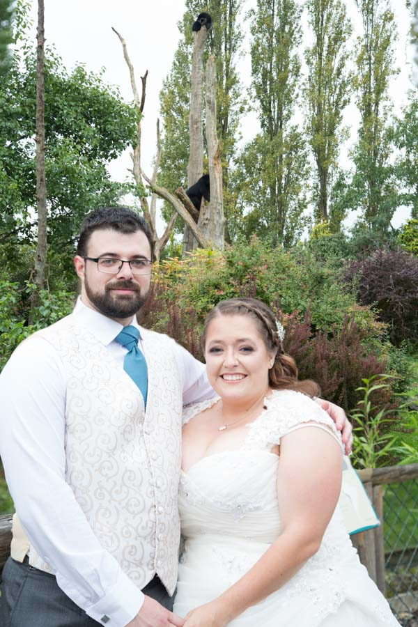 Bride and groom with bears at Chester Zoo wedding
