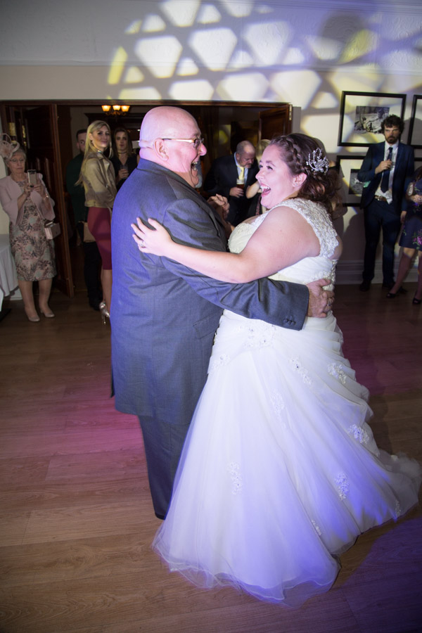 Bride dancing with father of the bride at oakfield house wedding chester zoo