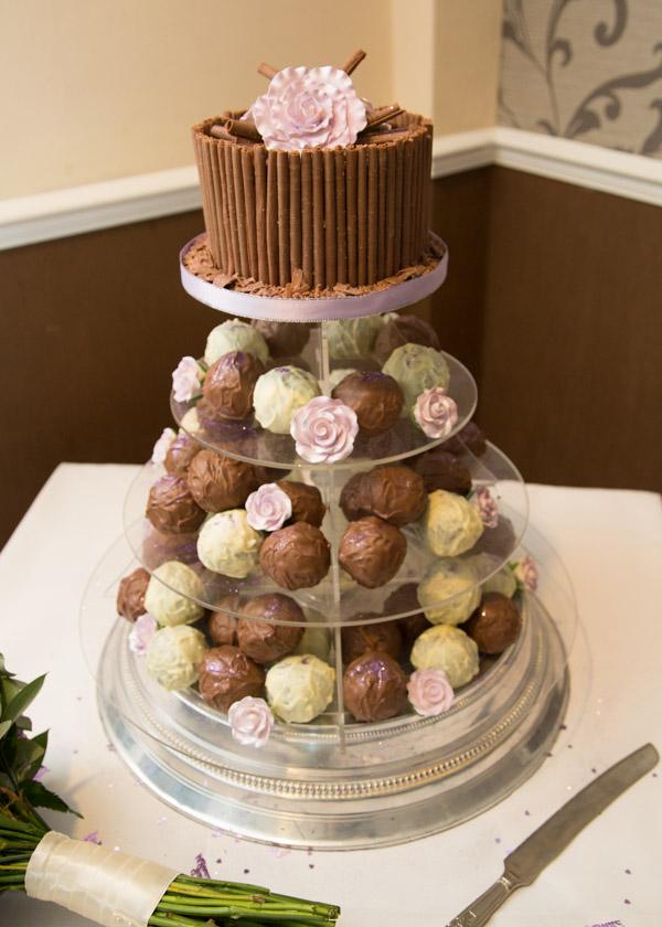 Chocolate Wedding cake by Melanies Cakes on plastic cake stand