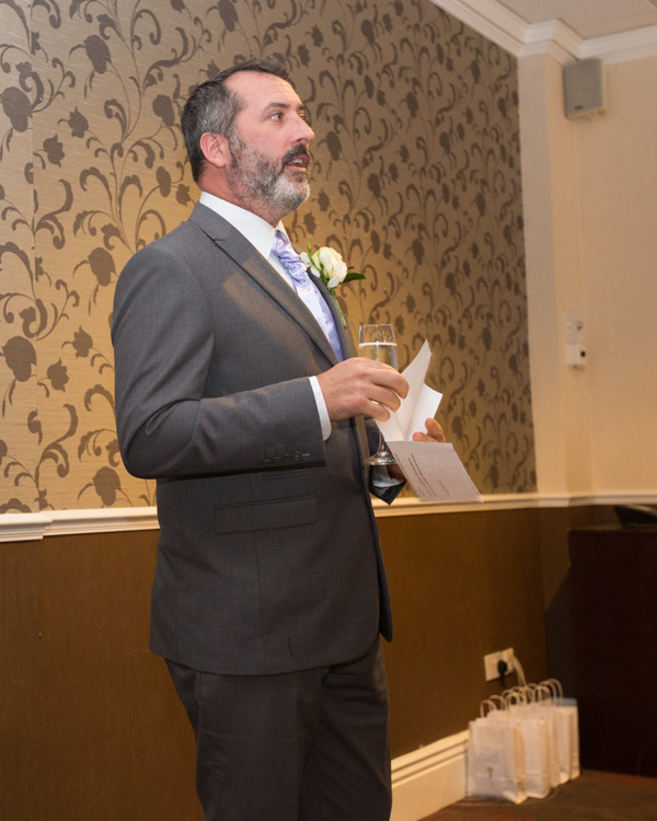 Best man giving his speech at the Holiday Inn Barnsley WEdding
