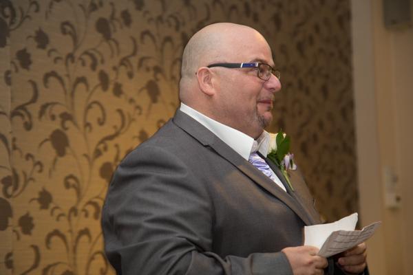 Groom giving speech during Holiday Inn Barnsley wedding