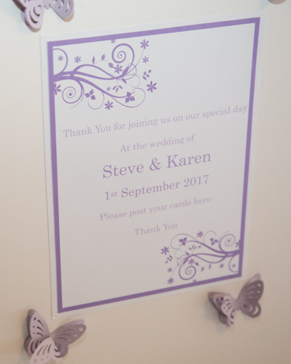 Purple butterfly decoration around text on the card box