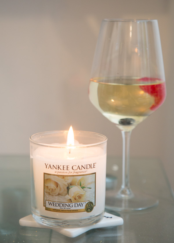 Wedding Day yankee candle with prosecco and strawberries in the background